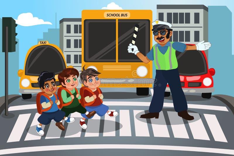 Kinderen die straat kruisen vector illustratie