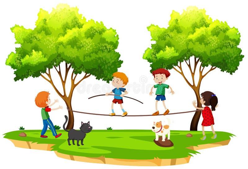 Kinderen die strak koord in het park lopen stock illustratie