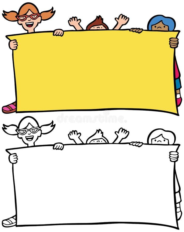 Kinderen die tekens steunen stock illustratie