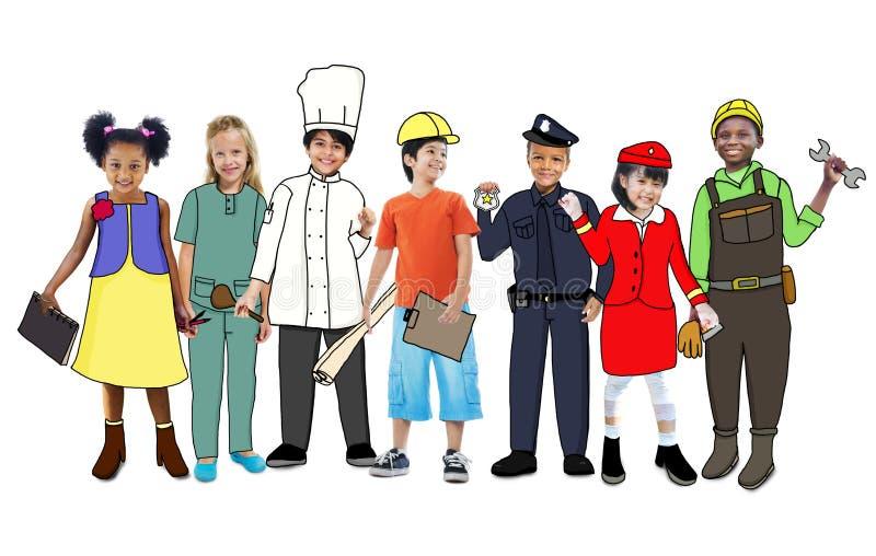 Kinderen die Toekomstig Job Uniforms dragen royalty-vrije illustratie