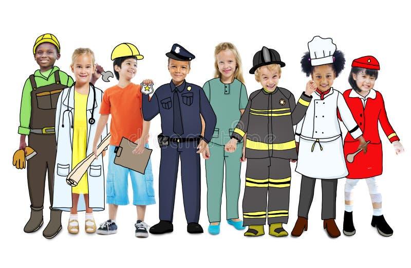 Kinderen die Toekomstig Job Uniforms dragen vector illustratie