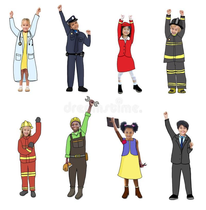 Kinderen die Toekomstig Job Uniforms dragen stock illustratie