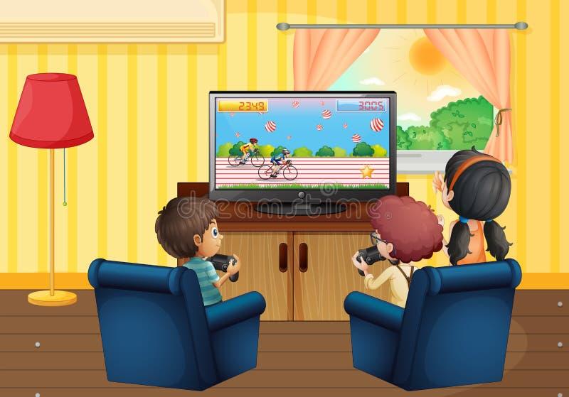Kinderen die vdospel in de woonkamer spelen royalty-vrije illustratie