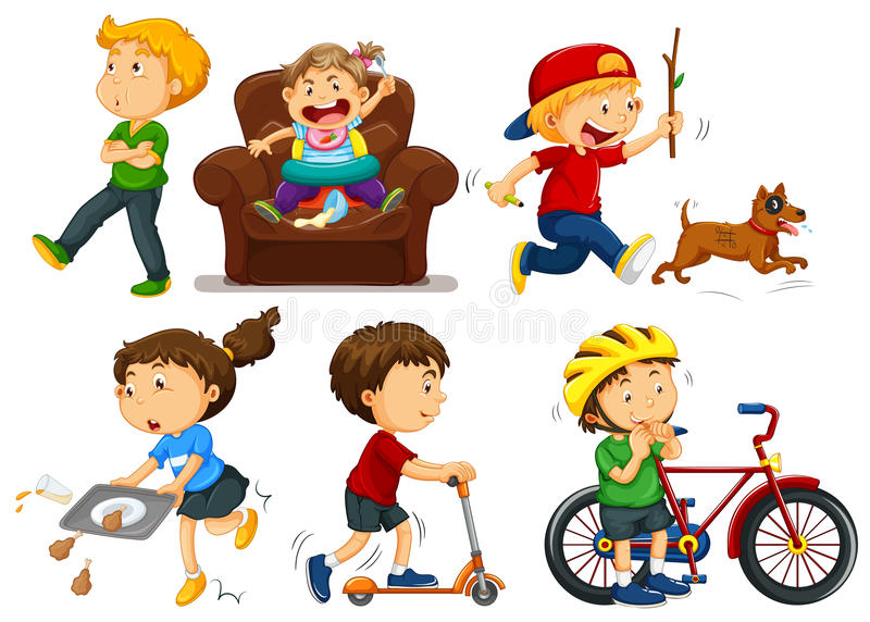 Kinderen die verschillende activiteiten doen stock illustratie