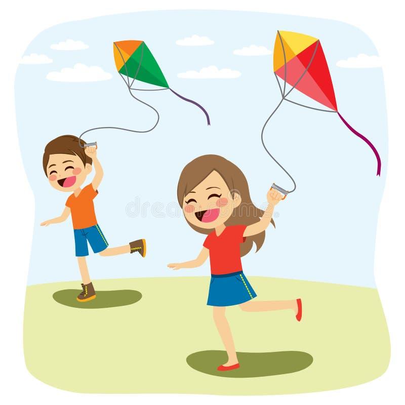 Kinderen die Vlieger spelen royalty-vrije illustratie