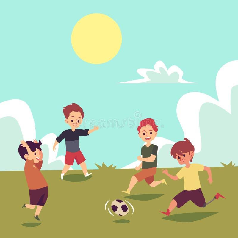 Kinderen die voetbal op de zomergebied spelen, gehandicapte jongen die met voetbal lopen royalty-vrije illustratie