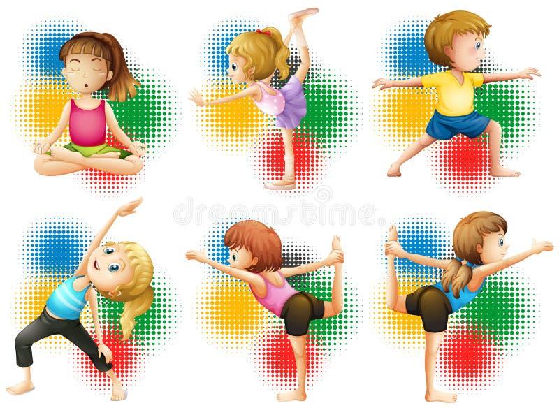 Kinderen die yoga en het uitrekken doen zich stock illustratie