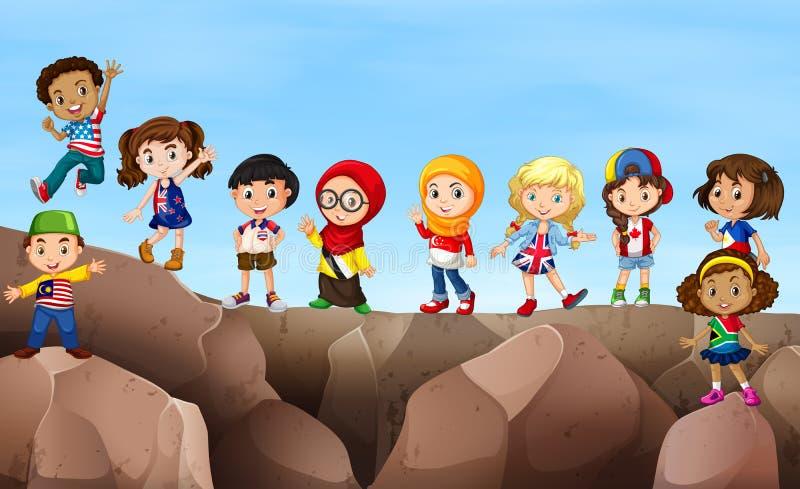 Kinderen die zich op klip bevinden vector illustratie