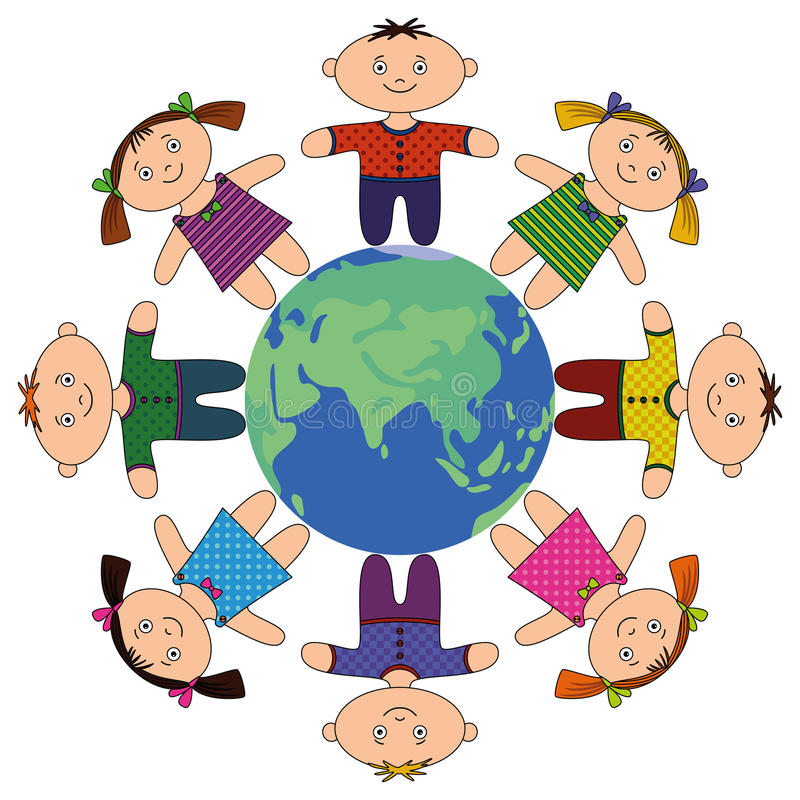 Kinderen die zich rond Aarde bevinden royalty-vrije illustratie