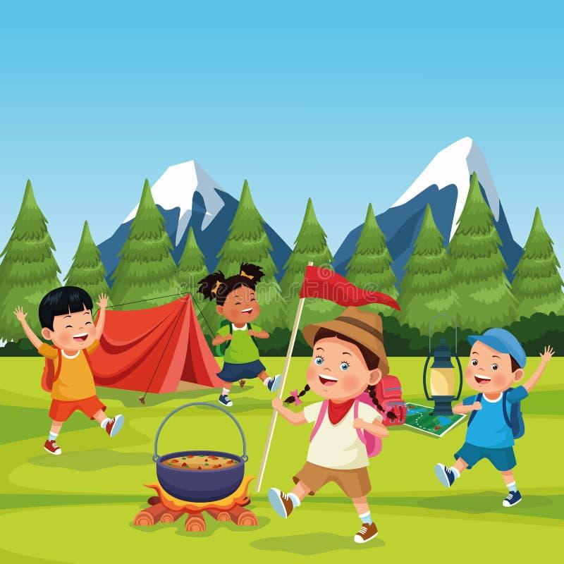 Kinderen in een het kamperen streek royalty-vrije illustratie