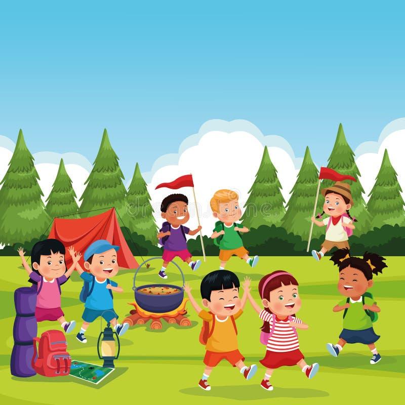 Kinderen in een het kamperen streek vector illustratie