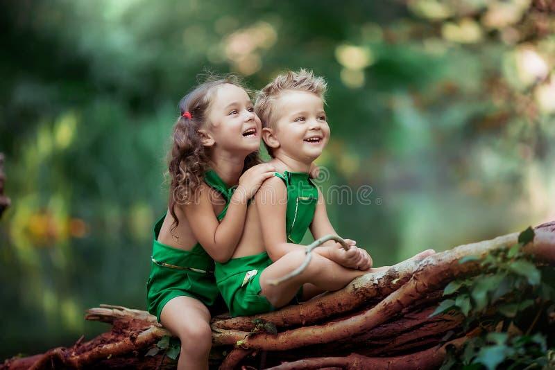 Kinderen een jongen en een meisje in het bos in de buurt van een fantastisch groen meer dat op een gestorven boom zit royalty-vrije stock foto