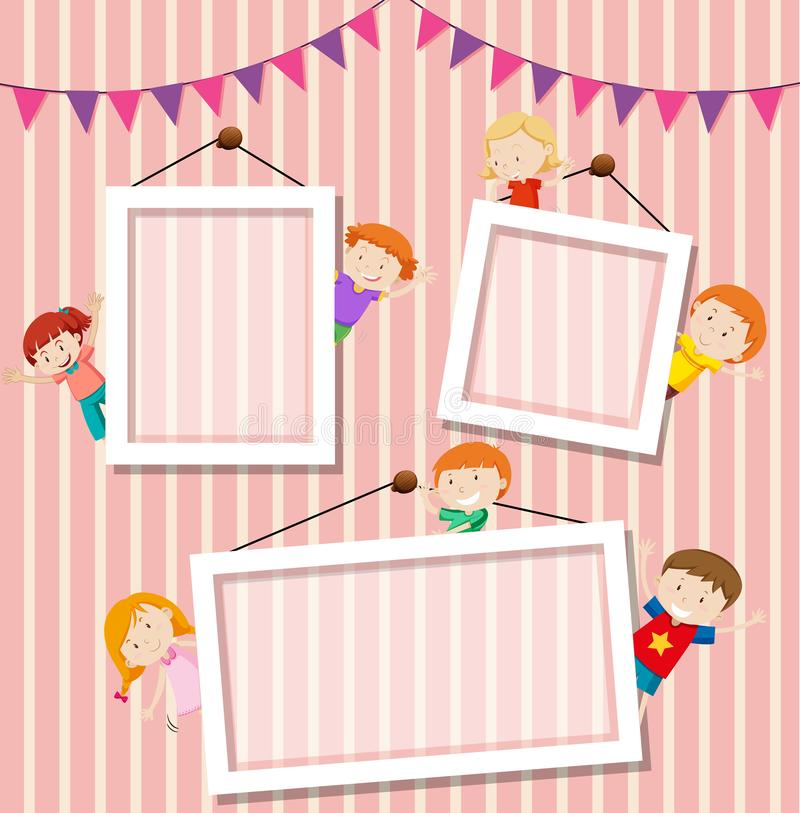 Kinderen een malplaatje van het fotokader stock illustratie