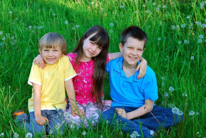 Kinderen in een weide stock foto's