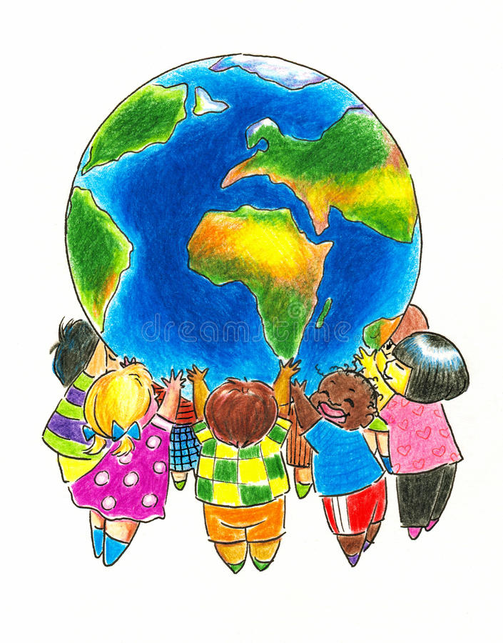 Kinderen en Aarde vector illustratie