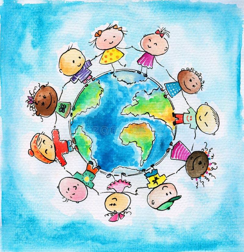 Kinderen en Aarde royalty-vrije illustratie