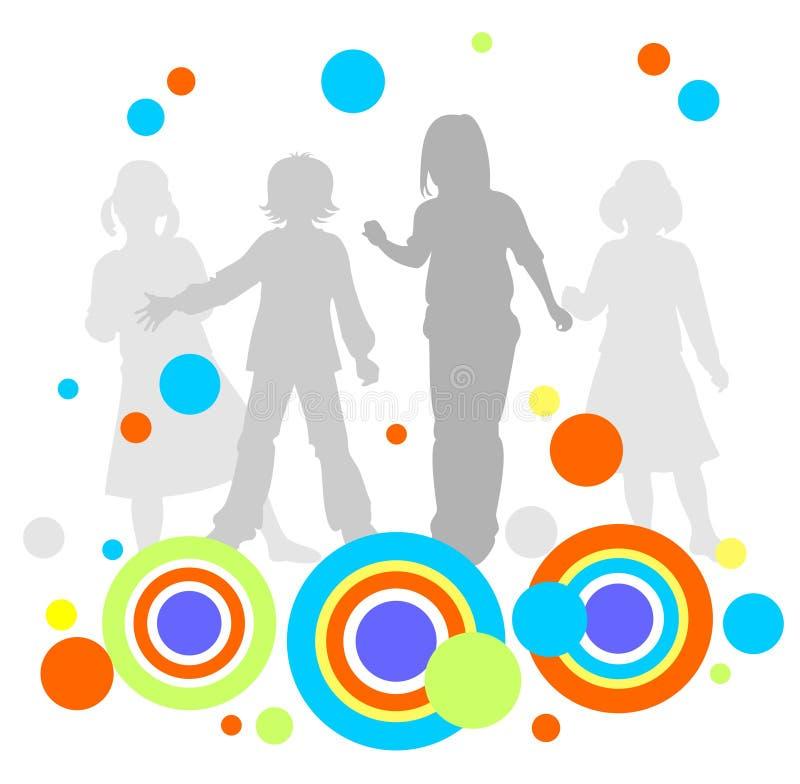 Kinderen en abstract patroon stock illustratie