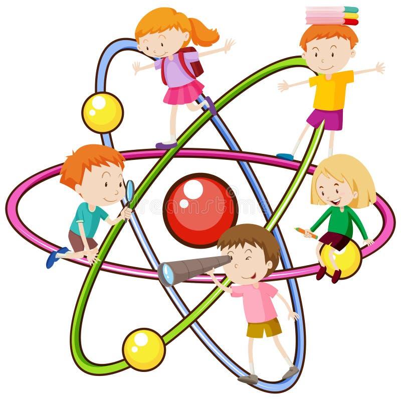Kinderen en atoomsymbool stock illustratie