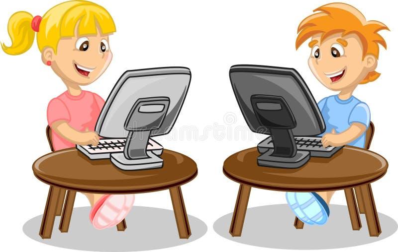Kinderen en computer royalty-vrije illustratie