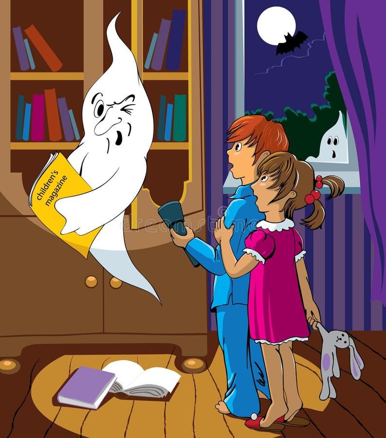 Kinderen en een spook royalty-vrije illustratie