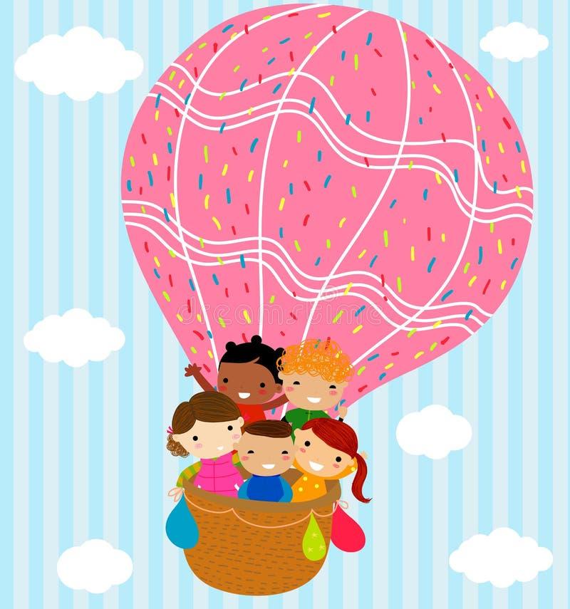 Kinderen en hete ballon royalty-vrije illustratie