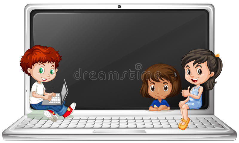 Kinderen en laptop computer stock illustratie