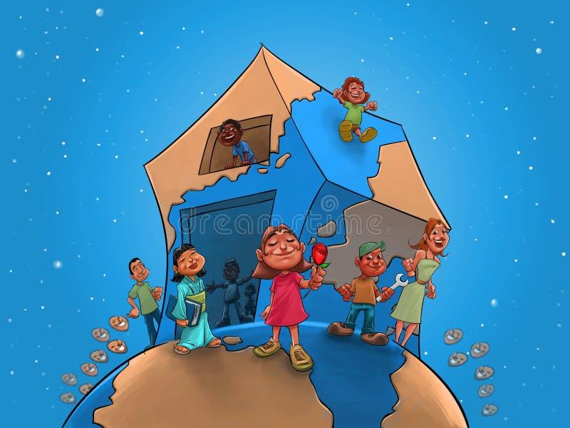 Kinderen en leraar op globaal huis stock illustratie