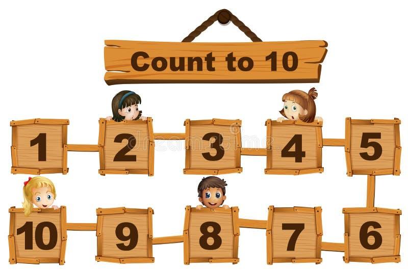 Kinderen en nummer één tot tien op houten raad stock illustratie