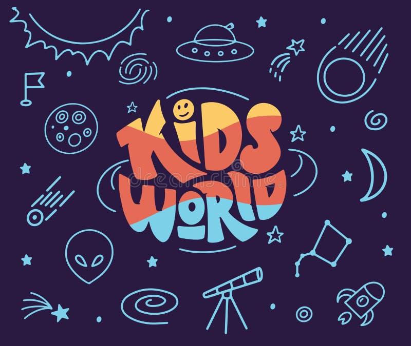 Kinderen en pictogrammen voor wereldlogo's en doodles Handgetrokken lettersamenstelling royalty-vrije illustratie