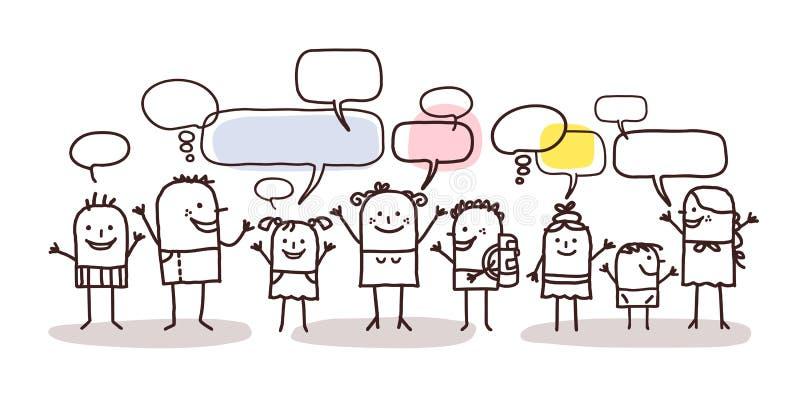 Kinderen en sociaal netwerk royalty-vrije illustratie