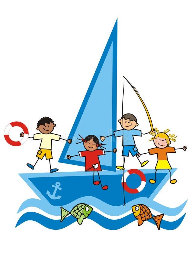 Kinderen en zeilboot stock illustratie