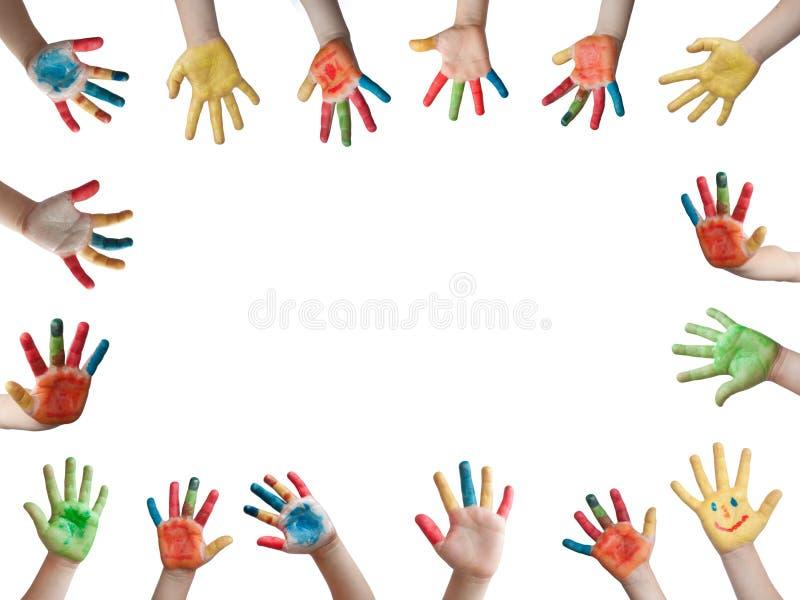 Kinderen geschilderde handen royalty-vrije stock foto's