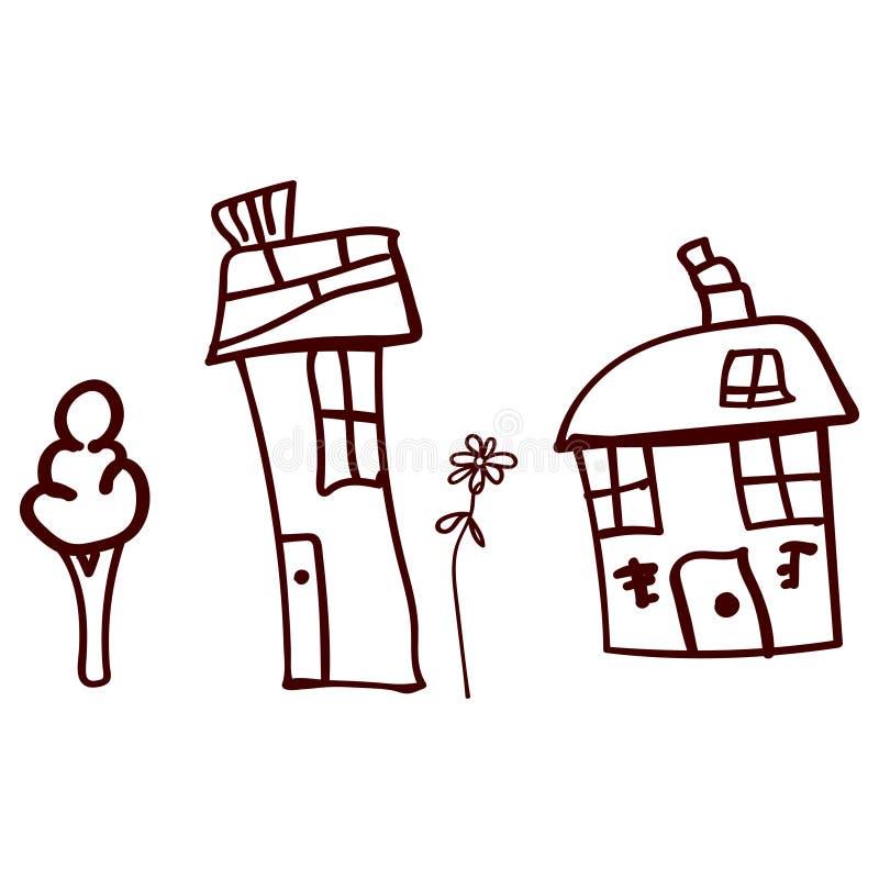Kinderen getrokken huizen en installaties in krabbelstijl stock illustratie