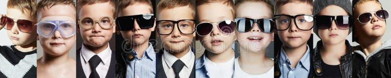 Kinderen in glazen en zonnebrilcollage royalty-vrije stock afbeelding