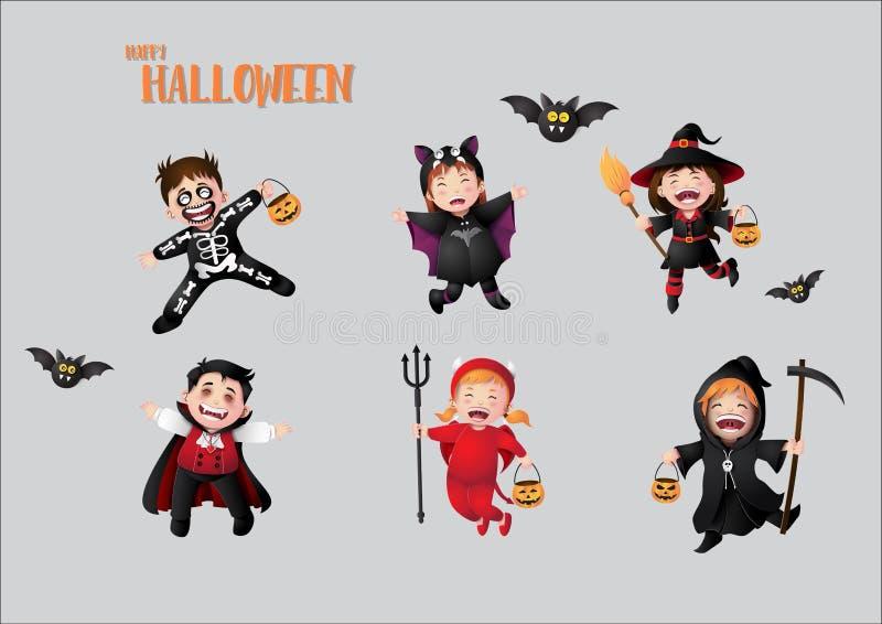 Kinderen in Halloween-kostuums stock illustratie