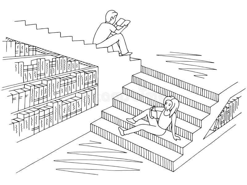Kinderen het lezen boekt het zitten op de stappen in de de illustratievector van de bibliotheek grafische zwarte witte schets royalty-vrije illustratie