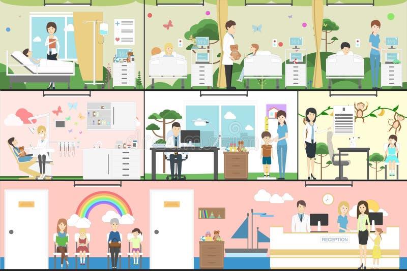 Kinderen in het ziekenhuis royalty-vrije illustratie