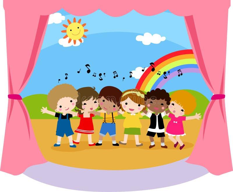 Kinderen het Zingen stock illustratie