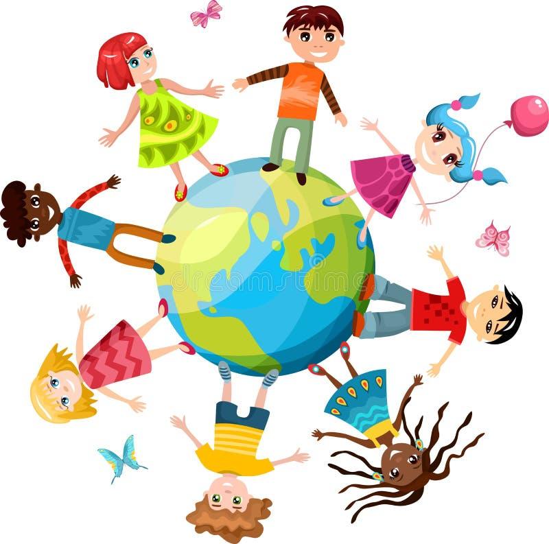 Kinderen ih de wereld royalty-vrije illustratie