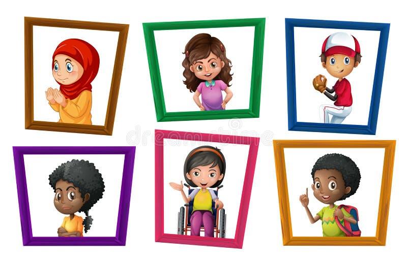 Kinderen in kaders royalty-vrije illustratie