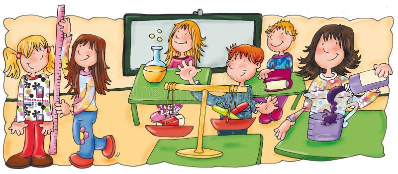 Kinderen in klasse aan wiskundeklasse stock afbeeldingen