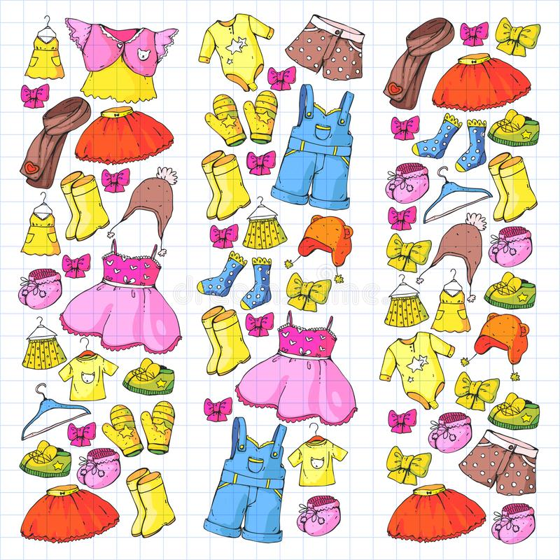 Kinderen kleding en manier Kleding, rok, borrels sjaal, broeken voor jongens en meisjes jonge geitjes manier De zomer, de winter royalty-vrije illustratie