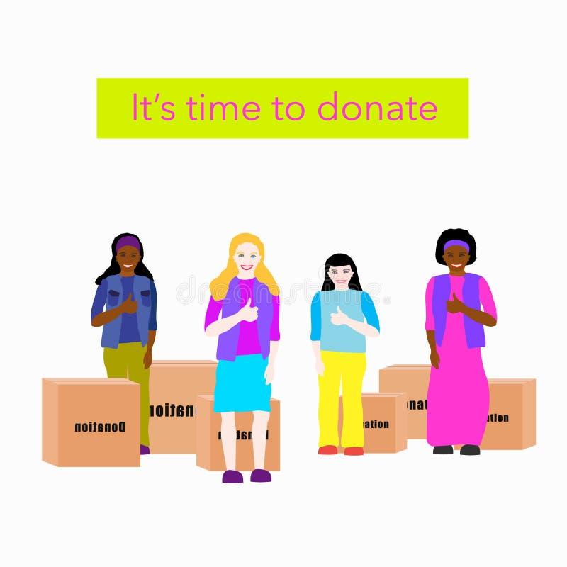 Kinderen in kleurrijke klerenduimen omhoog en tribune dichtbij dozen met geschonken kleren Tekst zijn tijd te schenken royalty-vrije illustratie