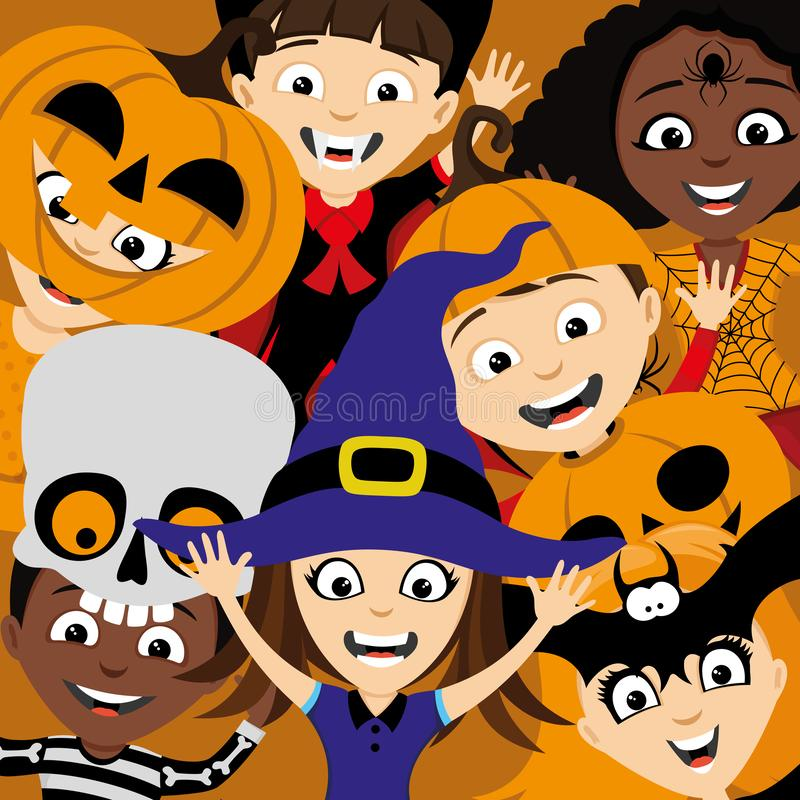 Kinderen in kostuums voor Halloween royalty-vrije illustratie