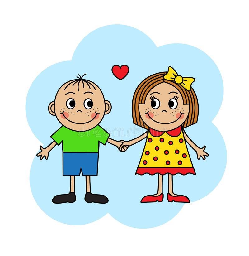 Kinderen in liefde royalty-vrije illustratie