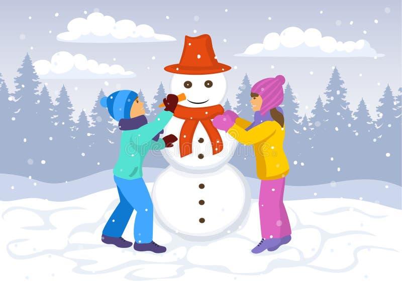 Kinderen, meisje en jongen die een sneeuwman maken Het landschapsachtergrond van de winter stock illustratie