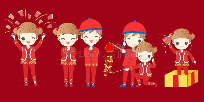Kinderen met Chinees nieuw jaar stock illustratie