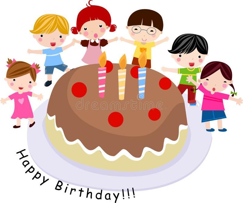 Kinderen met een cake royalty-vrije illustratie