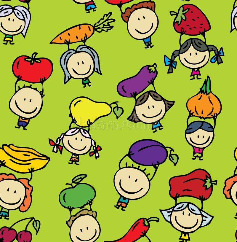 Kinderen met groententextuur vector illustratie