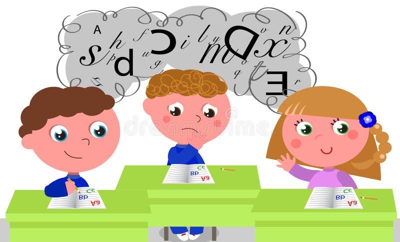 Kinderen met het leren van moeilijkheden stock illustratie